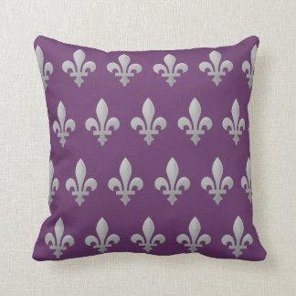 Silver Fleur de lys Floral Regal Purple Throw Throw Pillow
