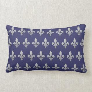 Silver Fleur De Lys Floral Royal Blue Lumbar Lumbar Pillow at Zazzle