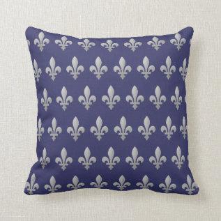 Silver Fleur de lys Floral Royal Blue Throw Pillow at Zazzle