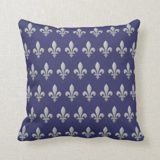 Silver Fleur de lys Floral Royal Blue Throw Pillow