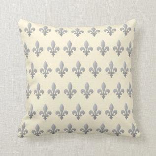 Silver Fleur De Lys Floral Royal Cornsilk Pillow at Zazzle