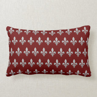 Silver Fleur De Lys Floral Royal Red Lumbar Lumbar Pillow at Zazzle