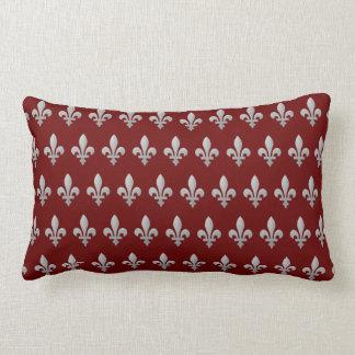 Silver Fleur de lys Floral Royal Red Lumbar Pillow