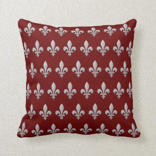 Silver Fleur De Lys Floral Royal Red Throw Pillow at Zazzle