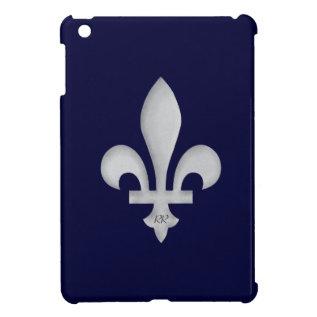 Silver Fleur-de-lys On Blue Ipad Mini Case at Zazzle