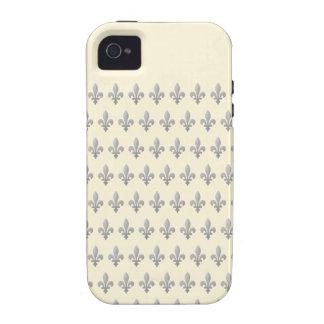 Silver Fleur de lys On Cornsilk iPhone 4/4S Case
