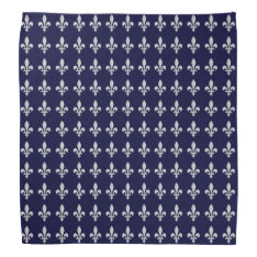 Silver Fleur-de-Lys on Dark Blue Bandana at Zazzle