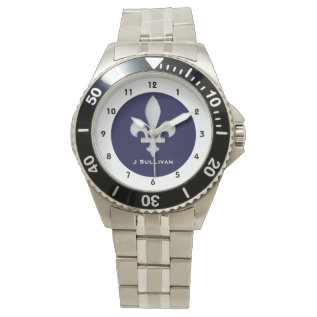 Silver Fleur-de-lys On Dark Blue On Classic Wristwatches at Zazzle
