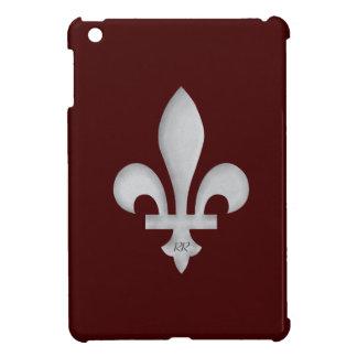 Silver Fleur-de-Lys on Dark Red iPad Mini Case