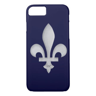 Silver Fleur-de-Lys on iPhone 7 Case