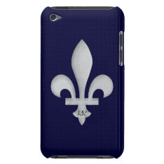 Silver Fleur-de-lys On Ipod Touch Case-mate Case at Zazzle