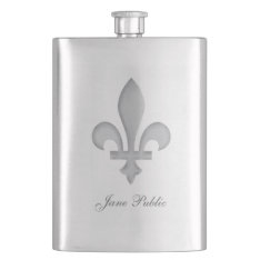 Silver Fleur-de-lys Personalized Premium Flask at Zazzle