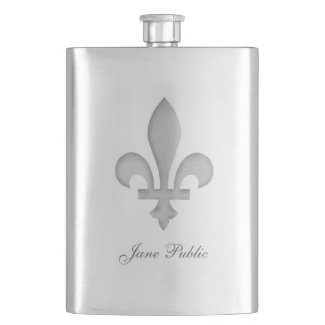 This hip Flask features a large silver fleur-de-lis centered on the front of the stainless steel flask container