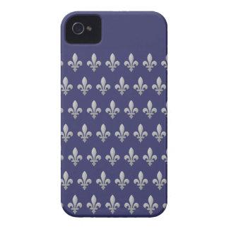 Silver Fleur de lys Royal Blue iPhone 4 Case