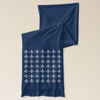 Silver Fleur-de-lys Tiled On Scarf in Navy Blue
