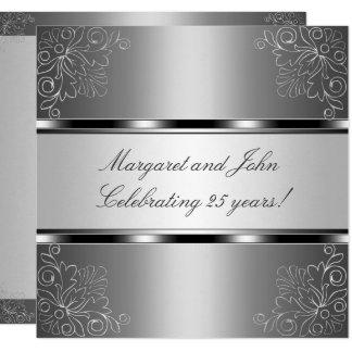 Silver Floral 25th Anniversary Party Event Invitation