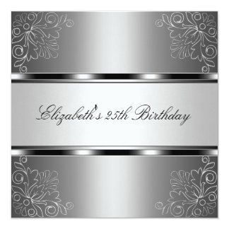 Silver Floral 25th Birthday Party Event Card