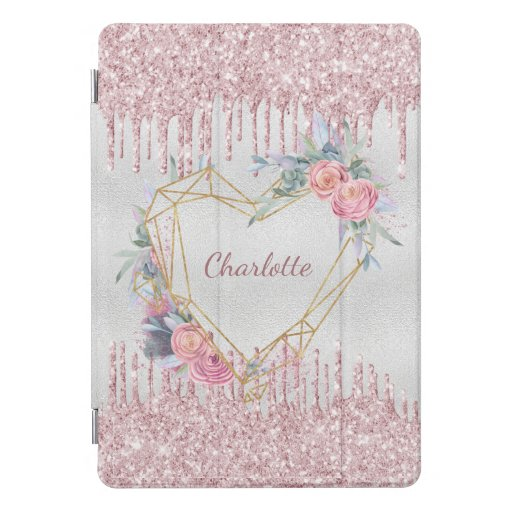 Silver floral blush pink glitter monogram name iPad pro cover