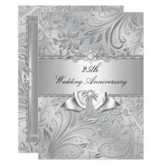 Silver Floral & Bow 25th Wedding Anniversary Card