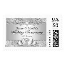Silver Floral & Bow 25th Wedding Anniversary Stamp
