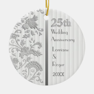 Silver Floral Elegance25th Wedding Anniversary Ceramic Ornament