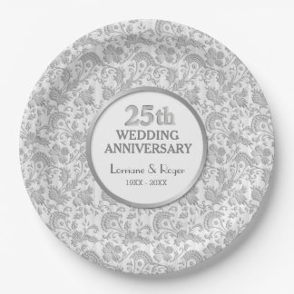 Silver Floral Elegance 25th Wedding Anniversary Paper Plate