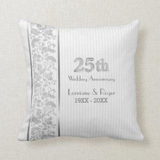 Silver Floral Elegance 25th Wedding Anniversary Throw Pillow