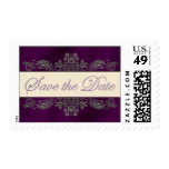 Silver Floral Filigree w. Plum Save the Date Stamp