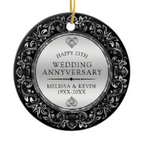 Silver floral frame 25th wedding anniversary ceramic ornament