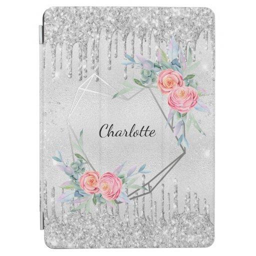 Silver floral glitter blush pink name geometric iPad air cover