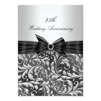 Silver Floral Leaf 25th Wedding Anniversary Invite