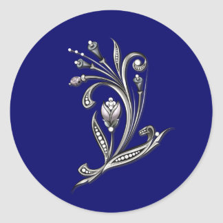 Silver Floral on Blue Wedding Envelope Seal Classic Round Sticker