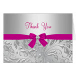 Silver Floral Swirl & Bow pink Thank You Card