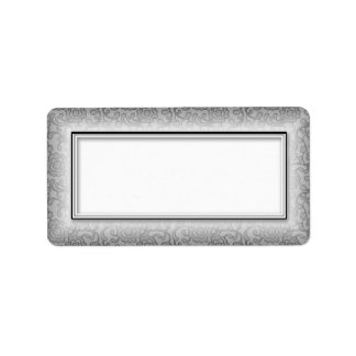 Silver Floral Swirls Blank Address Labels