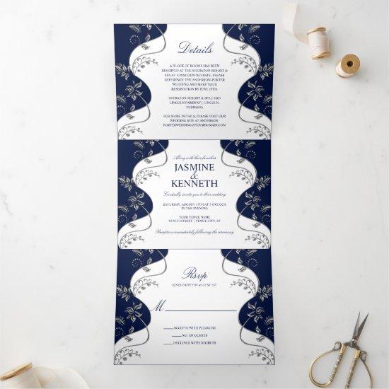 Silver Floral Swirls on Navy and White Wedding Tri-Fold Invitation