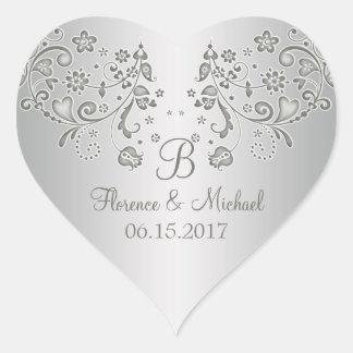 Silver floral swirls Wedding Heart Sticker