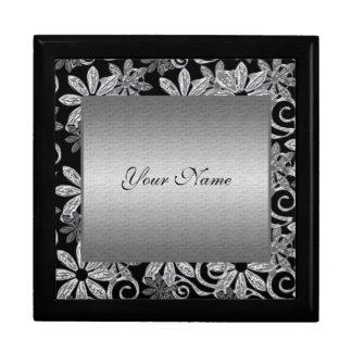 Silver floral wedding elegant metal trinket box