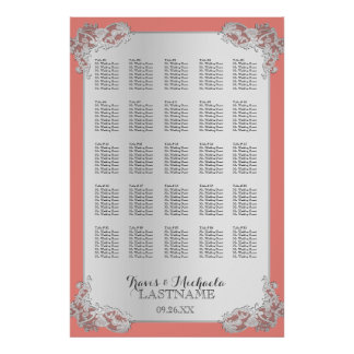 Silver Floral Wedding Seating Chart 24x36