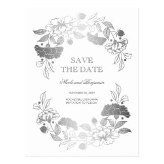 Silver Floral Wreath | Peonies Save the Date Postcard