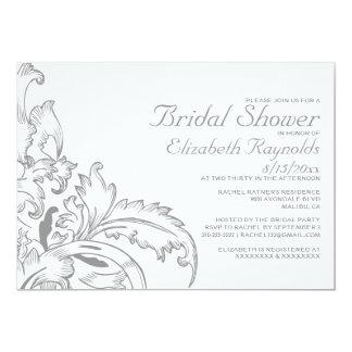 Silver Flourish Bridal Shower Invitations