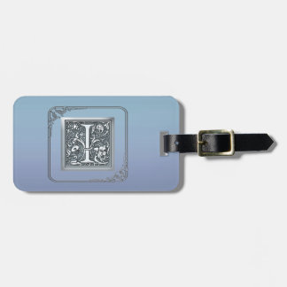 silver flourish monogram - I Bag Tag