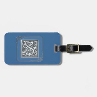 silver flourish monogram - S Luggage Tag