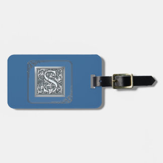 silver flourish monogram - S Tag For Luggage