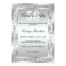 Silver Flourish Ornate Pattern Fabulous Fifty Invitation