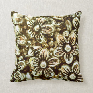Silver flower beads throw pillow