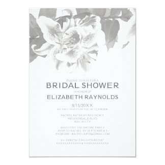 Silver Flower Bridal Shower Invitations Personalized Announcement