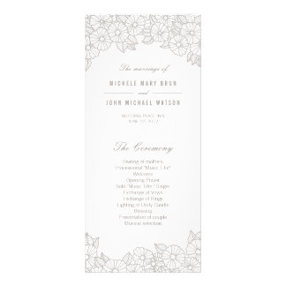 Silver Flowers on White Wedding Program Rack Cards