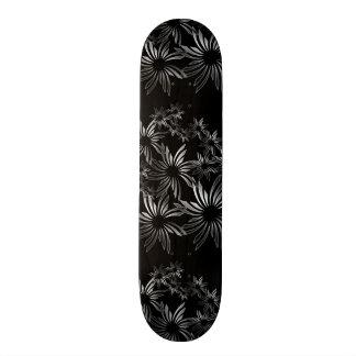 Silver flowers skateboard deck