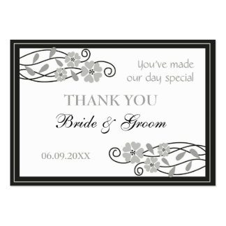 Silver Flowers Wedding Favor Gift Tags Business Card Templates