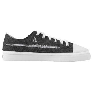 Silver Flute Custom Initial Black Damask Effect Low-Top Sneakers